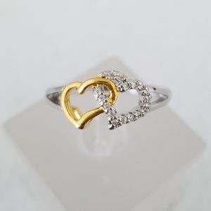 Sterling & 18k Hearts Ring